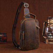 Vintage Men's Genuine Leather Crossbody Bag Business Sling Shoulder Bags Handbag