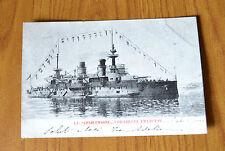 CARTOLINA NAVE CHARLEMAGNE CORAZZATA FRANCESE RARA VIAGGIATA 1904 SUBALPINA QQ