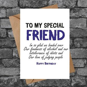 BC056 TO MY SPECIAL FRIEND FUNNY RUDE BIRTHDAY GIFT CHEEKY CARD BEST FRIEND