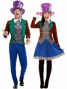 Deluxe Mens Ladies Mad Hatter Costume Fancy Dress Adult Wonderland Tea Party
