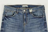 Zara Women's Jeans 8 Denim Blue Destroyed Slim Fit Ankle Length Stretch Cotton