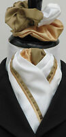 Ready Tied White & Gold Duo Faux Silk Dressage Riding Stock & Scrunchie - Show