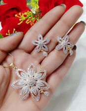 Dazzling Flower Theme American Diamond Pendant Earrings Set For Women & Girl