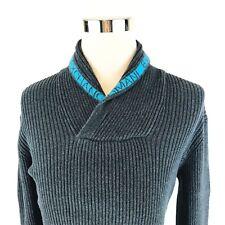 Armani Exchange Ribbed Charcoal Stretch Shawl Collar Sweater Mens Slim XL