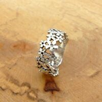 *To Clear* 925 Sterling Silver Daisy Chain Flower Band Ring Jewellery