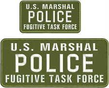 U.S. MARSHAL POLICE FUGITIVE TASK FORCE EMB PATCH 4.75X11&3X6HOOK/BACK/OD/white