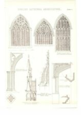 Antique Encyclopedia Print c1800s - English Cathedral Architecture. Lincoln..
