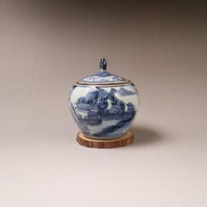 China old porcelain and blue white porcelain landscape Graph pattern cover pot
