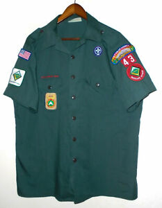 BOY SCOUTS Of America EXPLORING Uniform Shirt BSA #43 GREEN Vtg USA Mens : XL