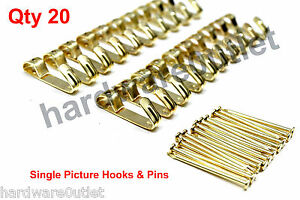 20 Brass Plated SINGLE PICTURE HOOKS With Hardened Pins B6201 Framing Hardware