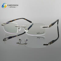 New Designer Men's Metal Rimless Myopia Eyeglass Frame Optical Eyewear Rx Able