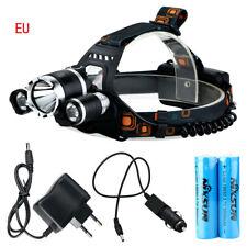 NEW 30000LM 3 Head CREE XM-L T6 LED Headlamp Headlight Flashlight Torch Lamp