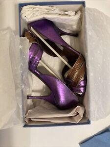 Hollywould Original designer Amethyst Violetta 90mm Heel sz 37.5 in Box W/bag