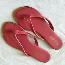 Womens Sandal Thong Leather Flat Comfort Pink Used Shoes EU38 US 8