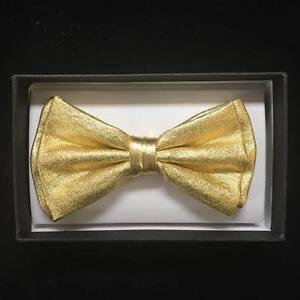 Gold Metallic Canvas Tuxedo Classic Wedding BowTie Neckwear Unisex Bow Tie