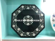 "24""x24"" Coffee Top Marble Black Table Mother of Pearl Inlay Bedroom Decor E136"