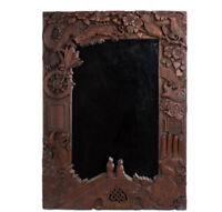 China 20. Siglo Espejo a Chino Rosewood / Teca Tallado Espejo Frame Chinois Qing