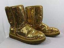 UGG Classic 3161 Short Gold Metallic Sparkles Sequin Boots, Size 10