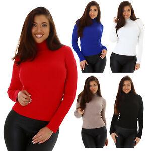 Roll Neck Women's Pullover Fine Rib Jumper Sweater Sweater