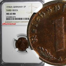 GERMANY-Third Reich Bronze 1936 A 1 Reichspfennig NGC MS63 RB  BETTER DATE KM#89