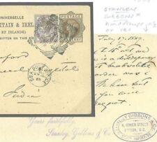 Enteros postales T190a GB Stanley Gibbons 1889 * * Gower St cachet UPU Tarjeta de la India
