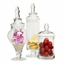 Apothecary 3 Pc Glass Jars Clear Decorative Wedding Table Home Decor Multi Sized
