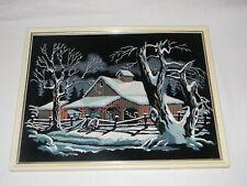 "Farm Barn Snow Trees Velvet Painting Wall Art Vintage w Plastic Frame 17""x12.5"""