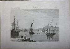 1845 VEDUTA DEL PORTO DI PALERMO Zuccagni Orlandini acquaforte originale