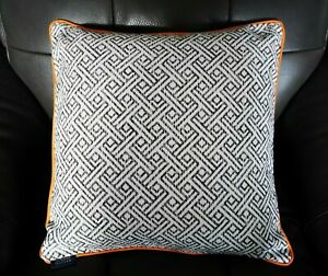 """McAlister Textiles Geo Piped Cushion Cover - Monochrome (17"""" x 17"""")"""