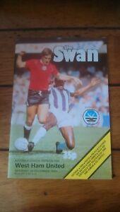 The Swan Swansea City vs West Ham United 26th December 1981 Programme