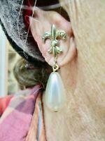 Vintage 1950's Gold Tone FAUX Pearl Dangle Heraldic Screwback Earrings