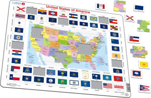 United States Map With State Flag/Capitals Border Frame Jigsaw Puzzle  (LRS L1)