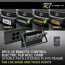 FOR HONDA/ACURA!2X BLACK POWERED REMOTE STEALTH HIDE AWAY LICENSE PLATE FLIPPER