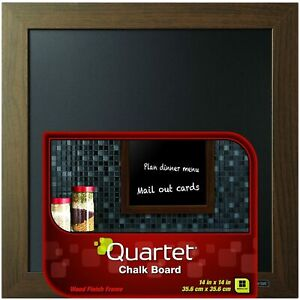 "Quartet Chalk Board Brown Wood Finish Frame Message Board Home Decor 14"" x 14"""