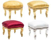 Pouf poggiapiedi Barocco Luigi XVI legno oro argento tessuto damasco 4 colori