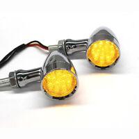 Amber Chrome Motorcycle LED Turn Signals Blinker Brake Running Indicator Lights