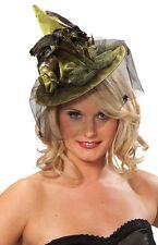 Sombrero de bruja halbminiatur con plumas verde NUEVO - CARNAVAL Gorro kopfbede