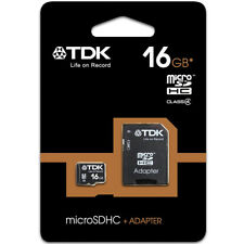 TDK 16GB Micro SD Card SDHC TF Memory Card For Phone Dash Cam Tablets + Adaptor