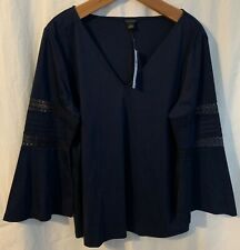 NWT Ann Taylor Top Blouse Navy Blue Bell-Sleeve Career V-Neck L/S Size Large