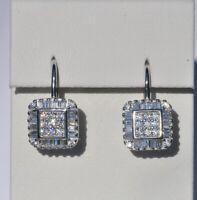 Echt 925 Sterling Silber Ohrringe Ohrhänger Zirkonia crystal Quadrat Nr 45