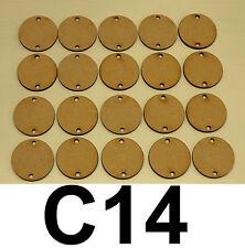 20 x LASER CUT WOODEN DISCS / CIRCLES 30mm Dia(with 2 holes) 3mm MDF