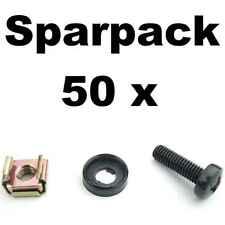 50x Rackschraube M6x20 + Unterlegscheibe mit Kragen + Käfigmutter f Stahlschiene