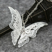 Fashion Women Silver Plated Openwork Butterfly Necklace Pendant Jewelry Gift New