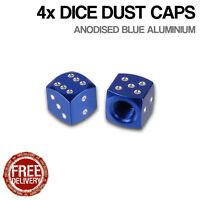4x Blue Dice Car Bike Motorcycle BMX Wheel Tyre Valve Metal Dust Caps Dusties