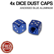 4x Blue Dice Car Bike Motorcycle BMX Wheel Tyre Valve Metal Dust Caps Dusties
