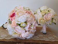 Wedding Bridal Bouquets, Corsages, & Boutonnieres - Rustic Ivory, Blush (Set)