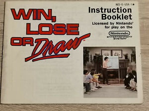 Win Lose Loose Gold Draw Nintendo Nes ( Manual Only)