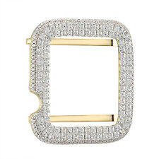 Princess Cut Solitaire Apple Watch Bezel Iced Out Gold Finish 925 Silver 38mm