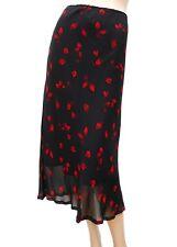 Jupe ORSAY T 42 XL 4 noir rouge Fluide doublée mi mollet été Skirt Rock falda