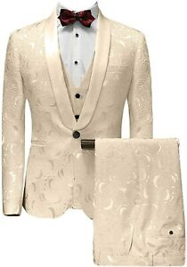 Champagne Men's Suits Paisley Premium Floral Formal Groom Tuxedos Wedding Prom